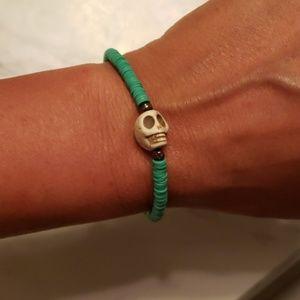 Vinyl African Trade Bead Skull Friendship Bracelet